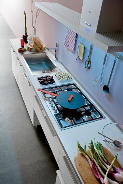 aménagement du plan de travail dans une cuisine en I - cuisiniste montpellier