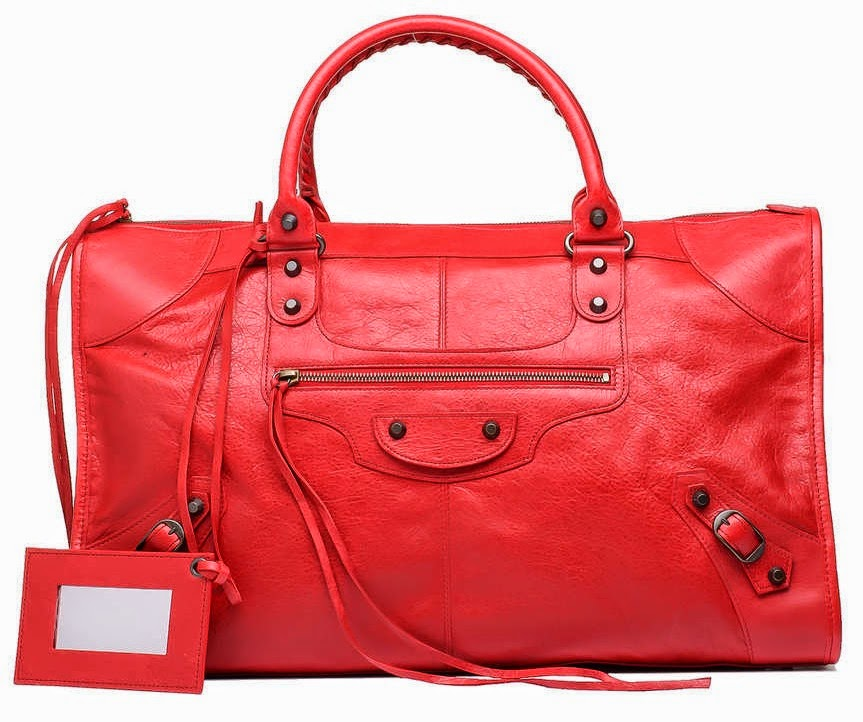 trend alert - red bags, red balenciaga work bag