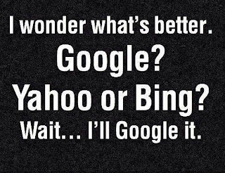 text reading I wonder what is better google yahoo or bing wait i will google it