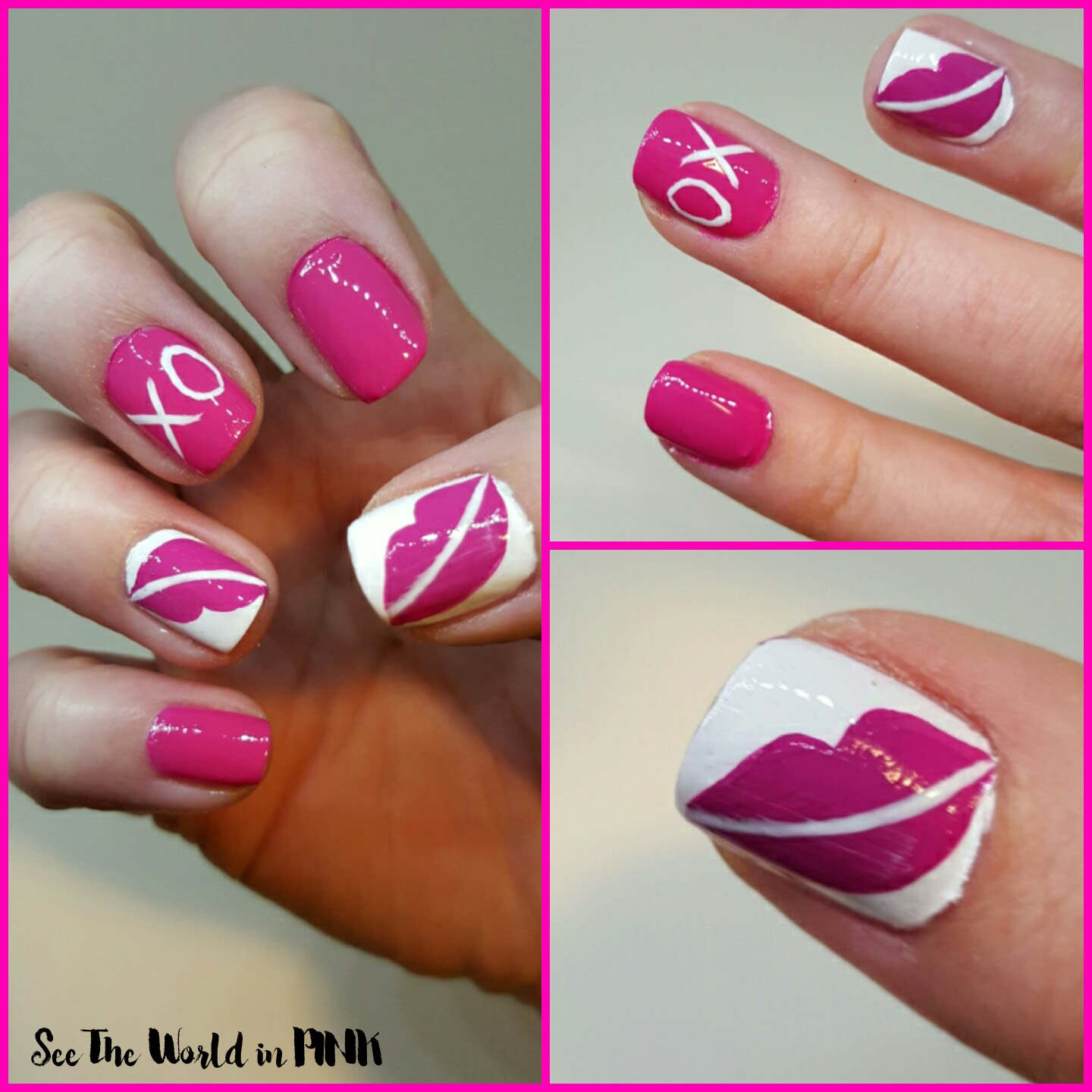 Manicure monday valentines nail art lips and kisses and valentines nail art lips and kisses prinsesfo Images