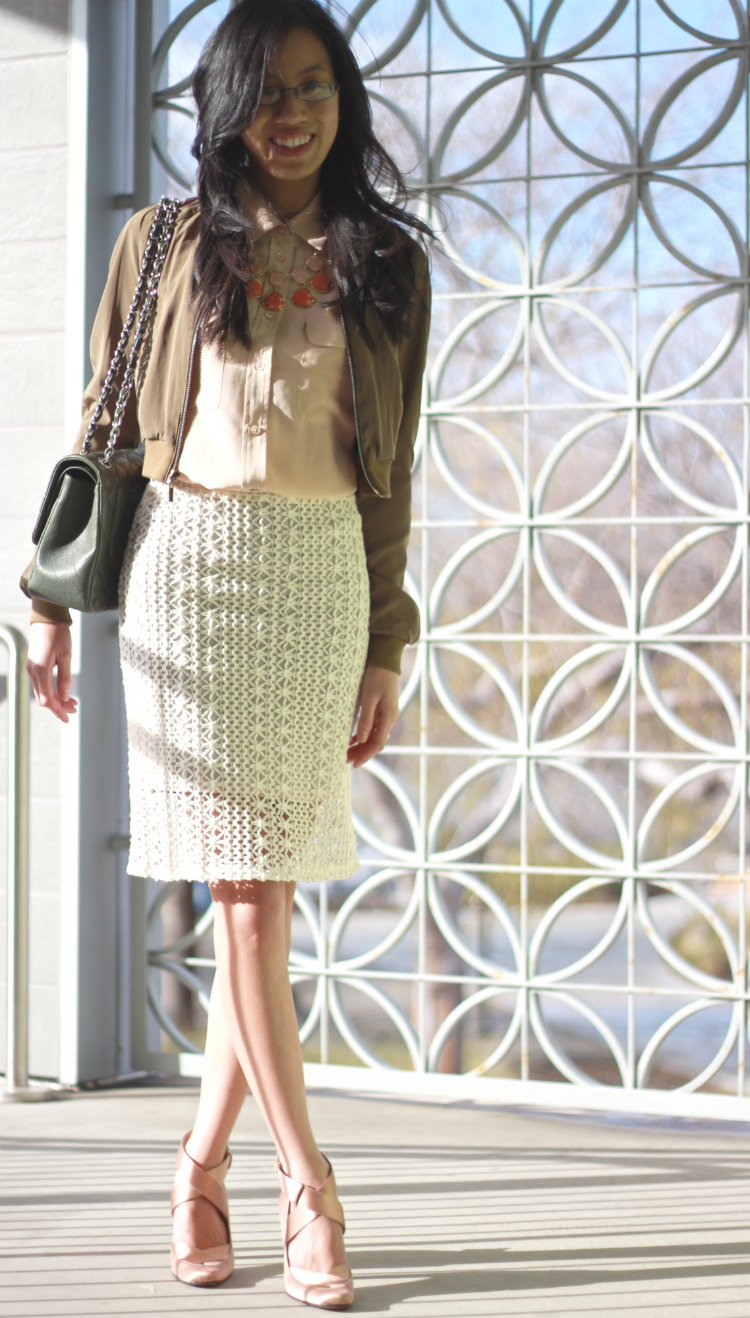 free people crochet skirt pencil outfit