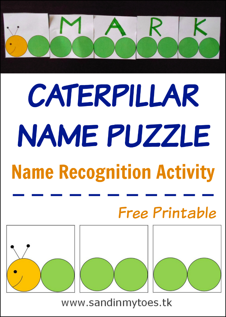 graphic about Name Puzzle Printable called Chaotic Fingers: Caterpillar Popularity Puzzle (Totally free Printable) Sand