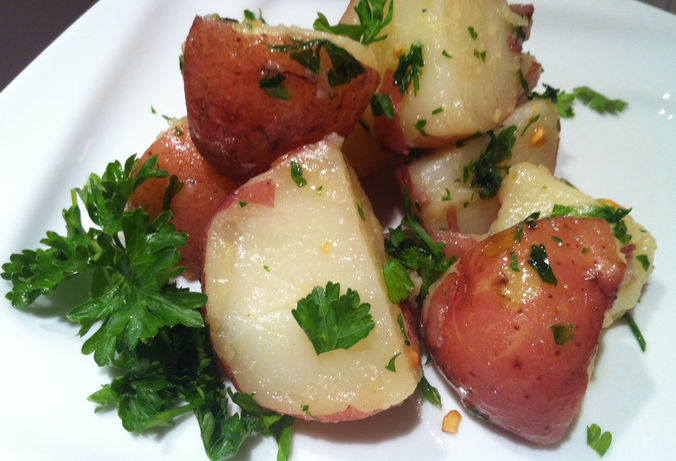 Red Potatoes and parsley leaves