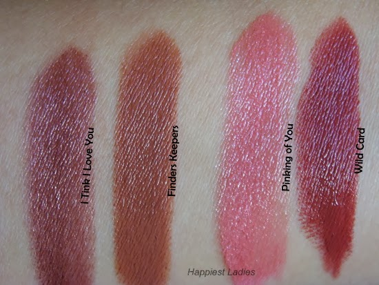 Benefit Full Finish Lipsticks Swatch