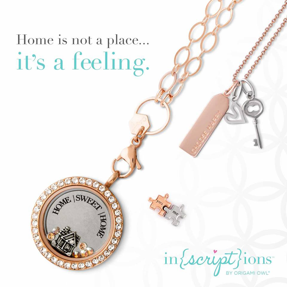 Inscriptions Home Sweet Home Origami Owl Living Locket available at StoriedCharms.com