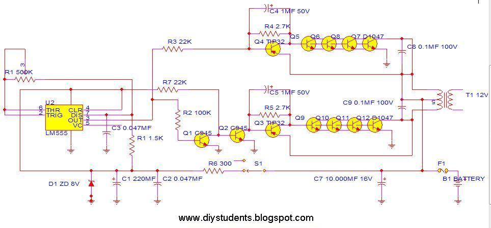 Diy Students Inverter 12v To 220v 300w By Ne555 2n3055