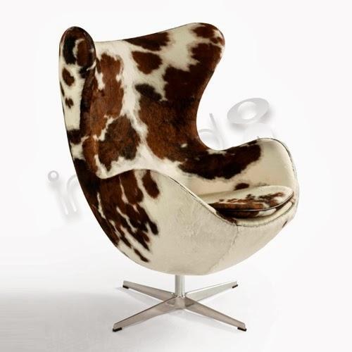Sillón Egg tapizado piel de vaca, Arne Jacobsen.