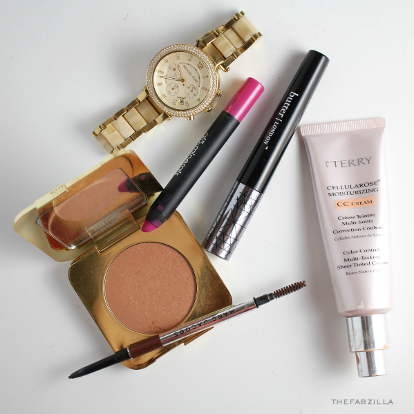makeups can't leave without, beauty blogger picks for makeup, summer makeup must-have, how to minimal look, no makeup makeup, tom ford bronzing powder, marc jacobs wow brows liner, glominerals suede matte lip crayon, by terry cc cream, butter london mascara review, swatch, mac about town