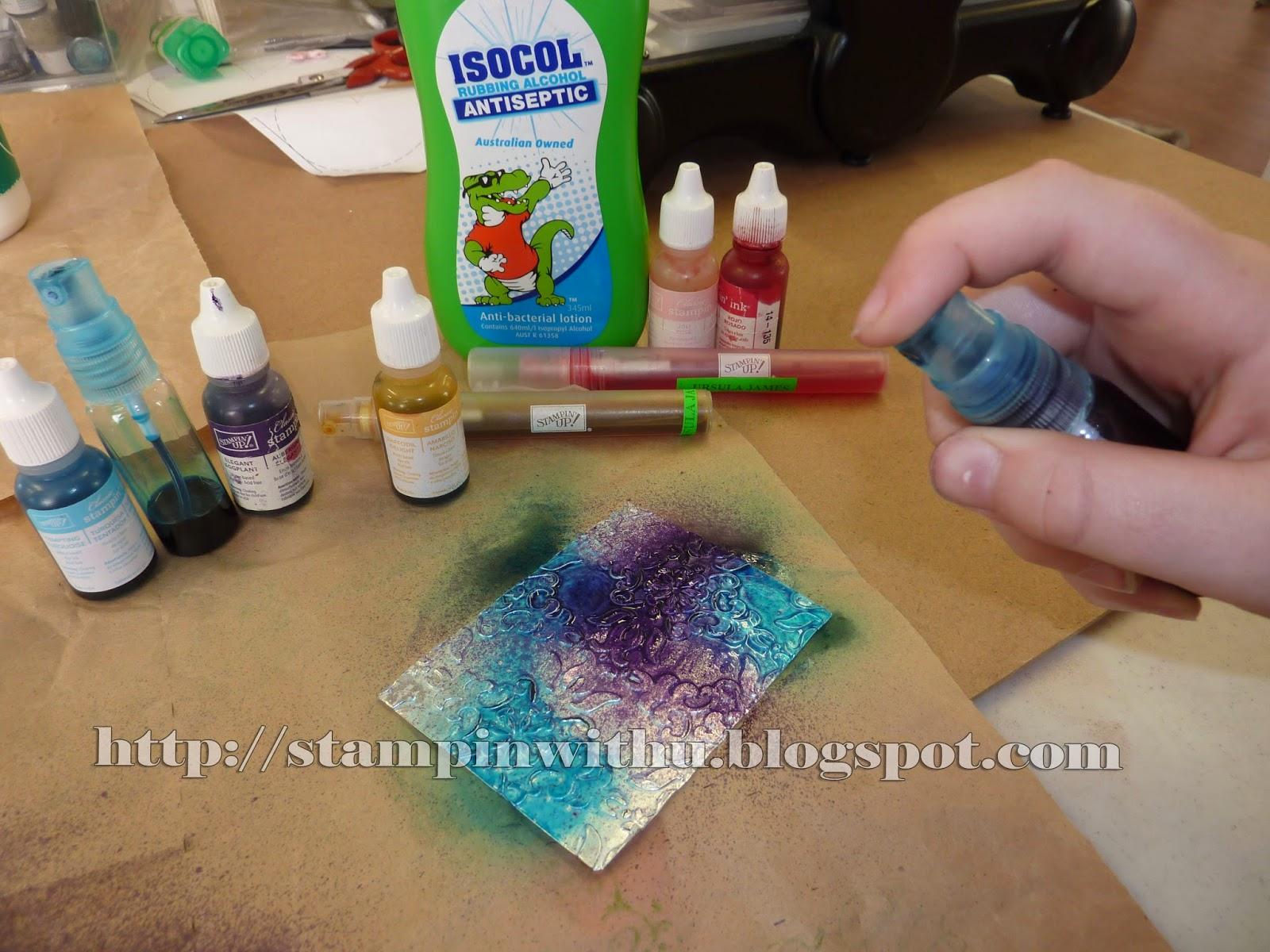 Spritzing Purple Colour on Foil