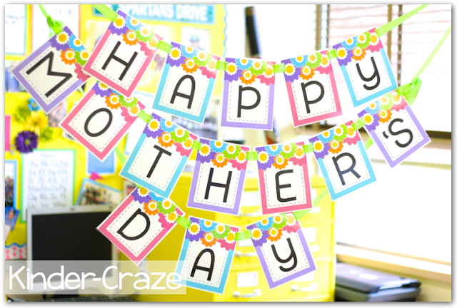 Mother's Day pennant banner and SO many more coordinating printables for throwing  a classroom tea party