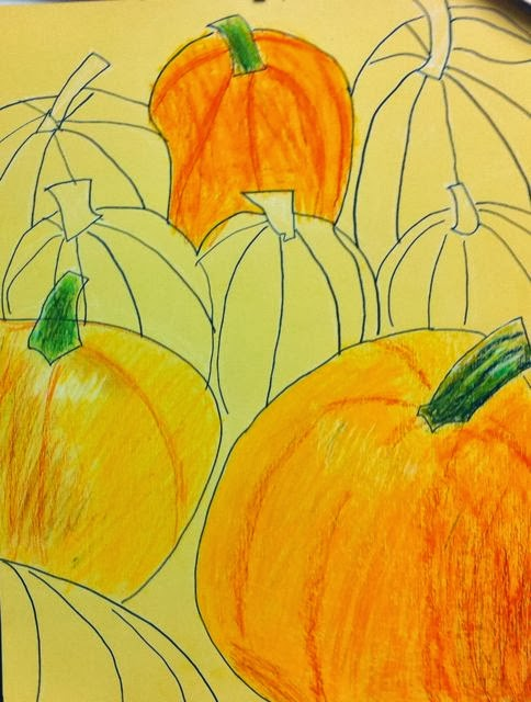Contour Line Drawing Pumpkin : Room art contour and shaded pumkins an apple
