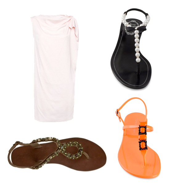Mango Dress, sandals Taupage, Renè Caovilla, Casadei (orange)