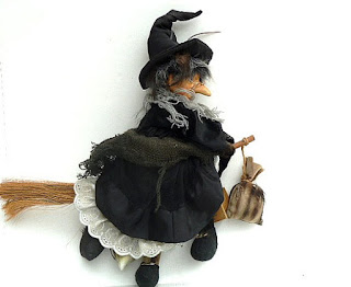 Halloween decor vintage handmade witch
