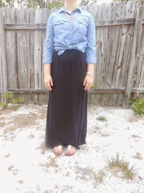 chambray shirt five ways black maxi dress fall transition statement necklace white sandals