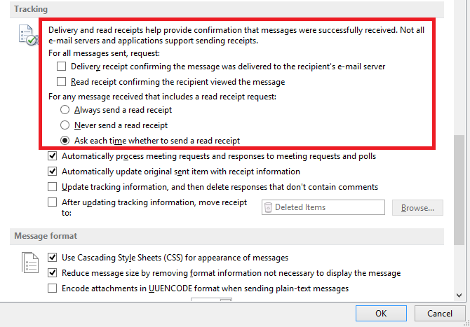 track email outlook2013