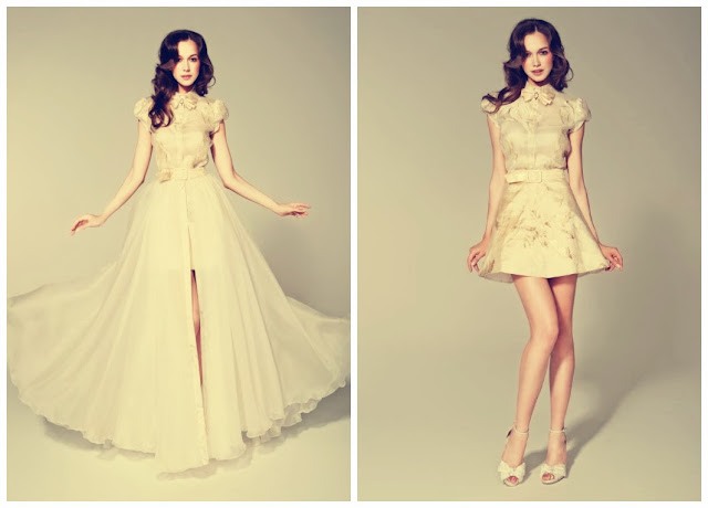 Chiffon High-neckline Short Sleeves with Bow on Neckline A-line 2 in 1 Wedding Dress
