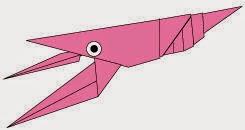Bước 19: Vẽ mắt để hoàn thành cách xếp con tôm hùm bằng giấy theo phong cách origami.