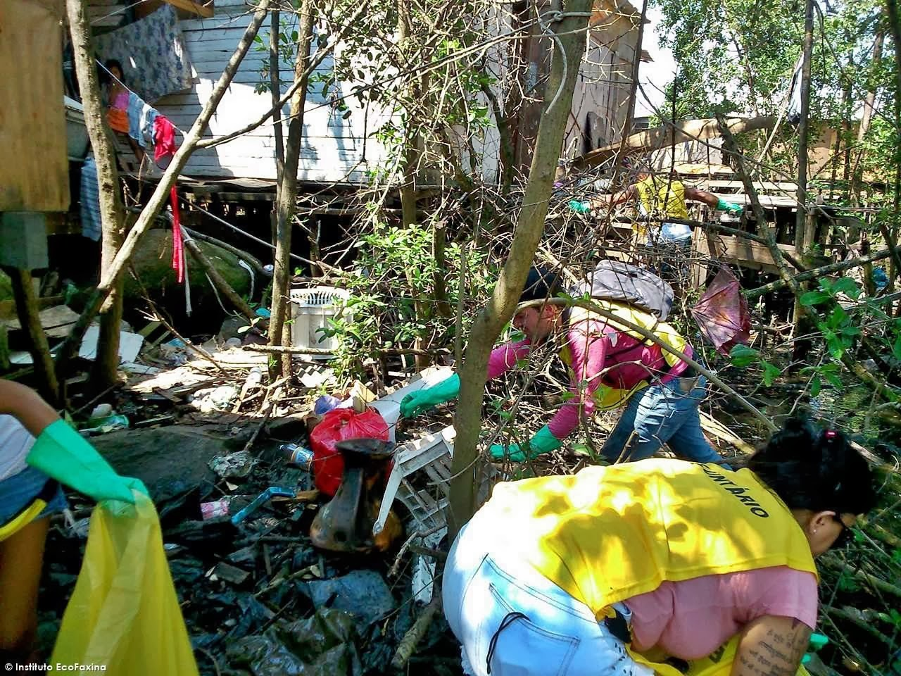 Voluntários coletam diversos tipos de objetos e materiais no mangue. Crédito: Instituto EcoFaxina
