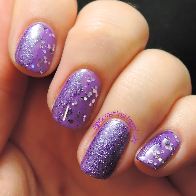 Purple glitter nail art 52WPNMC