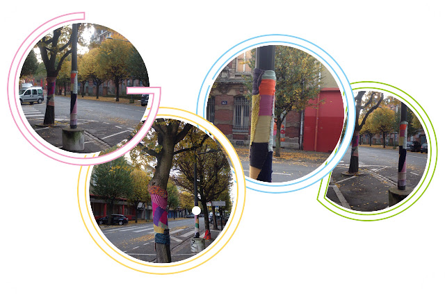 Yarn bombing arbre laine crochet tricot Lille