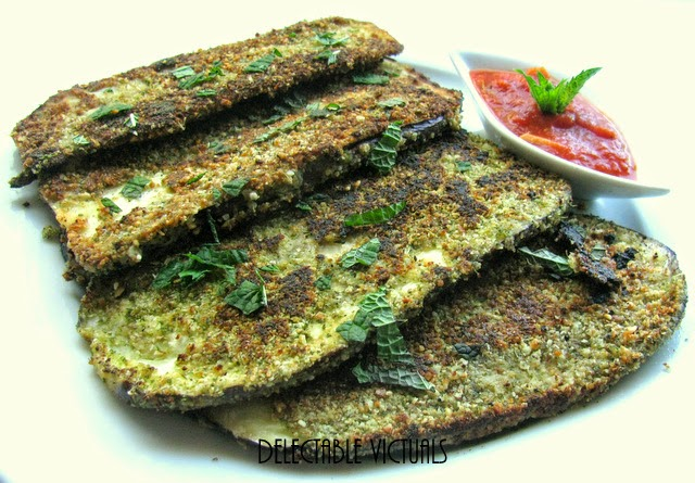 minty eggplant almond flax crusted gluten free