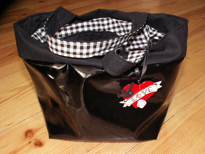 patent leather, bag, lunch, gingham, old school tattoo, black