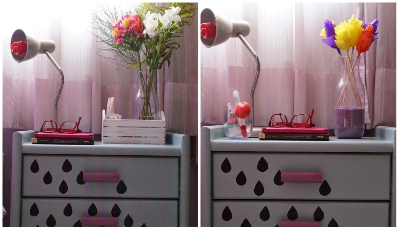 Composição 1: moringa, as flores naturais e a cestinha de madeira (também da Dellabino). Composição 2: moringa, as flores de papel e o copo da moringa com os cosméticos de uso noturno.