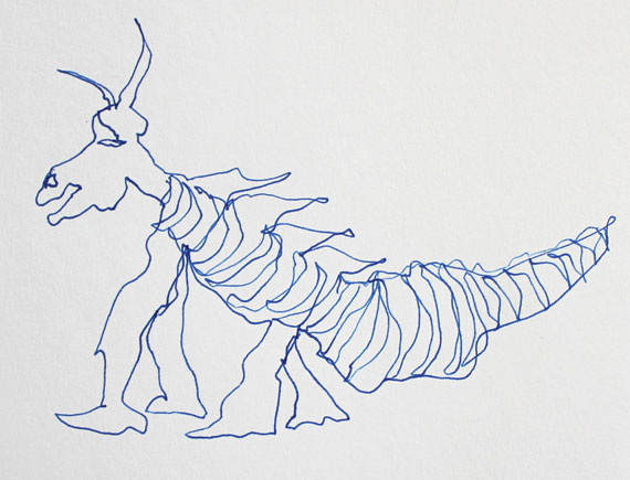 dragon semi blind contour continuous line drawing