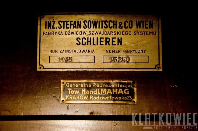 Kraków. Kamienica. Zabytkowa winda. Sowitsch & CO Wien