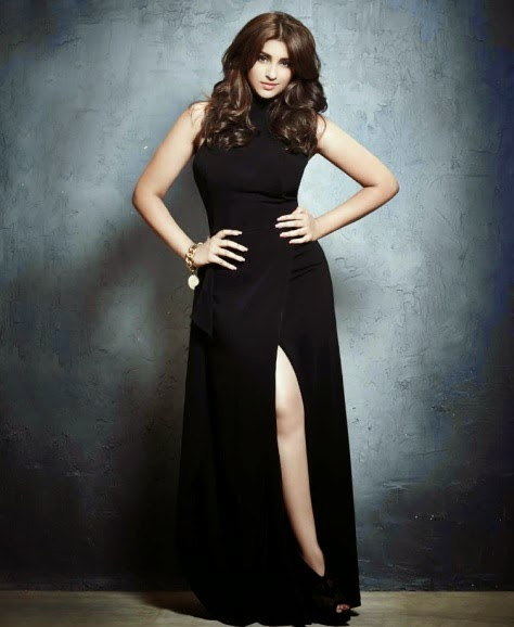Parineeti-Chopra-in-black-gown-showing-hour-glass-figure-in-L'officiel-India-Magazine