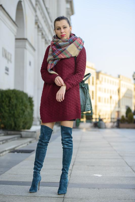 bordowy sweter oversize fashionblogger