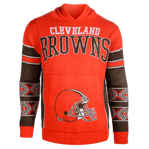 CLEVELAND BROWNS OFFICIAL NFL BIG LOGO HOODED SWEATSHIRT BY KLEW