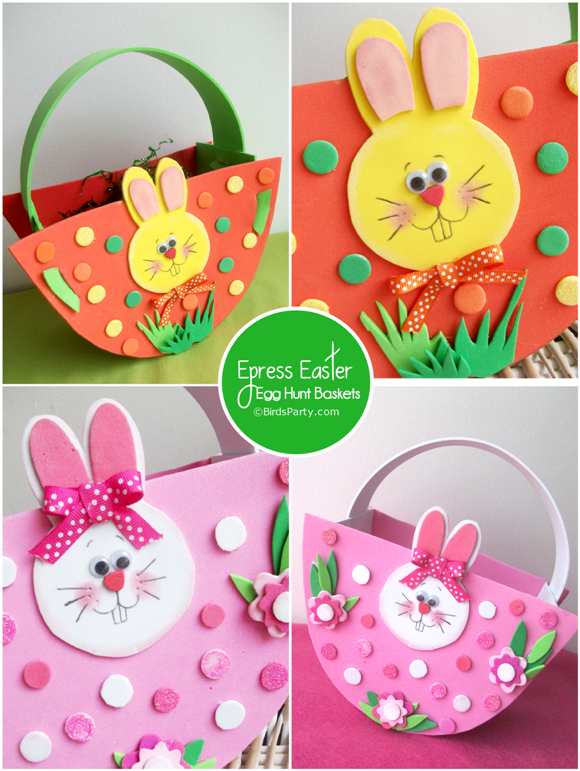 Express baskets for your easter egg hunt wit free printable pattern