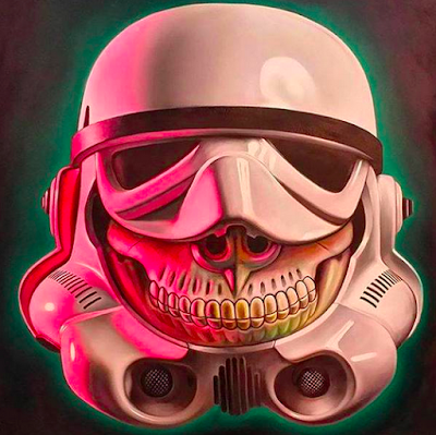 "Designer Con 2015 Exclusive Star Wars ""Stormtrooper Grin"" Prints on Wood by Ron English"