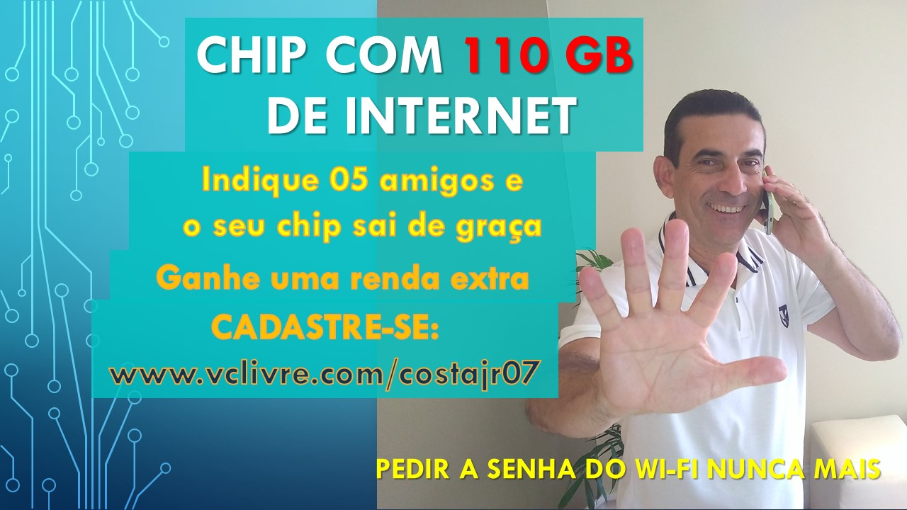 Chip com 110GB de internet por R$99,90