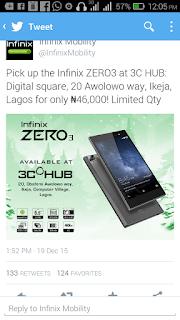 Infinix zero 3 price in Nigeria