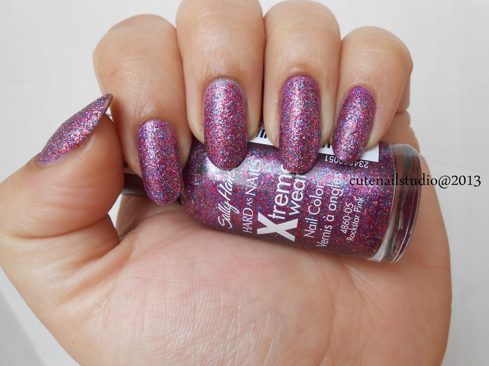 Cute nails: Sally Hansen xtreme wear nail color Rockstar Pink and In ...