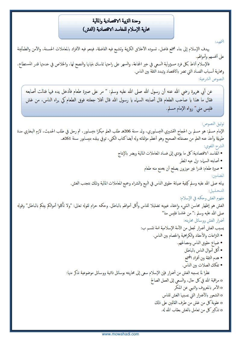 محاربة الاسلام للمفاسد الاجتماعية (الغش )