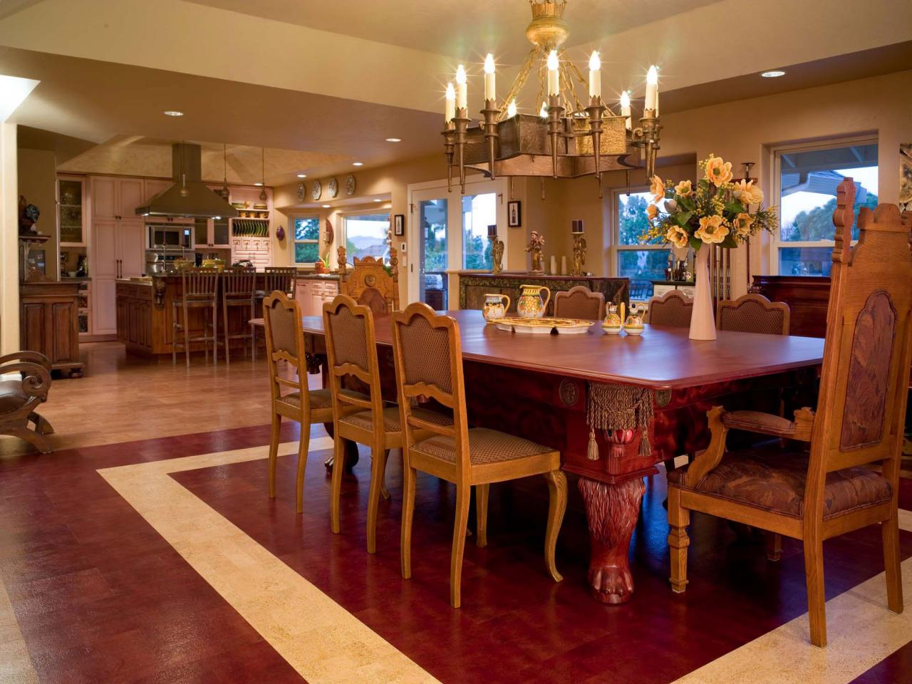Wood and Tile the Dining Room Flooring for Comfortable - Shhozz