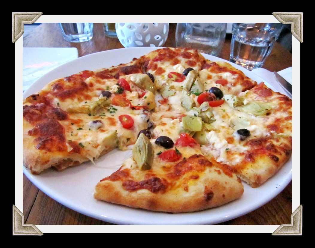 artichoke, olive, and tomato pizza