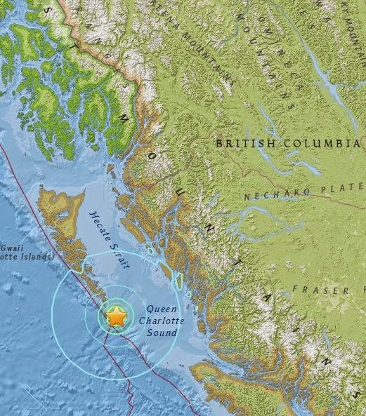 Magnitude 6.2 Earthquake of Bella Bella, Canada 2015-04-24