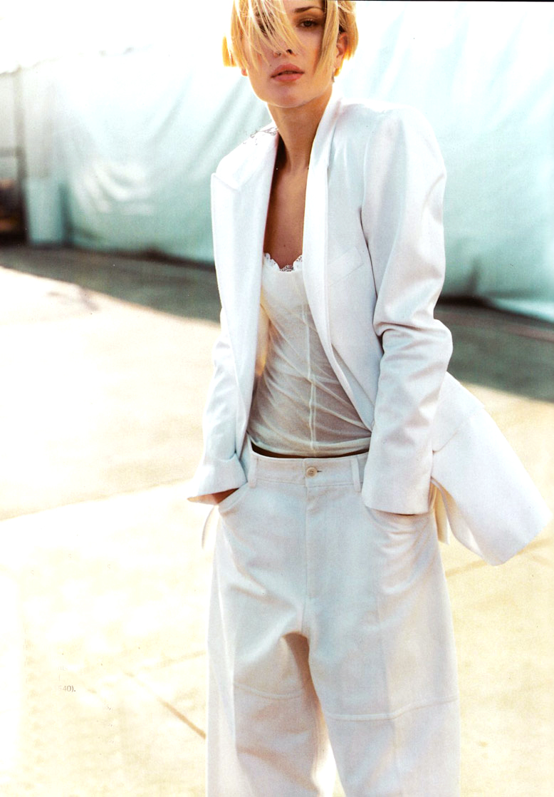 Erin Wasson in white suit photographed by Mario Testino and styled by Carine Roitfeld for Vogue US February 2001 fashion editorial