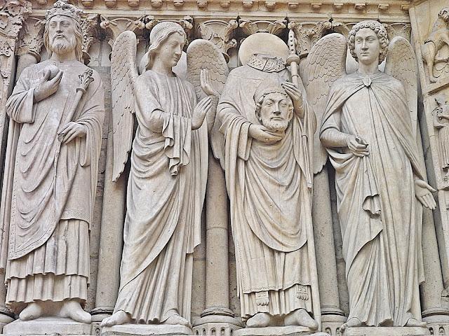Paryż, wycieczka, katedra Notre Dame, płaskorzeźba, fasada Notre Dame