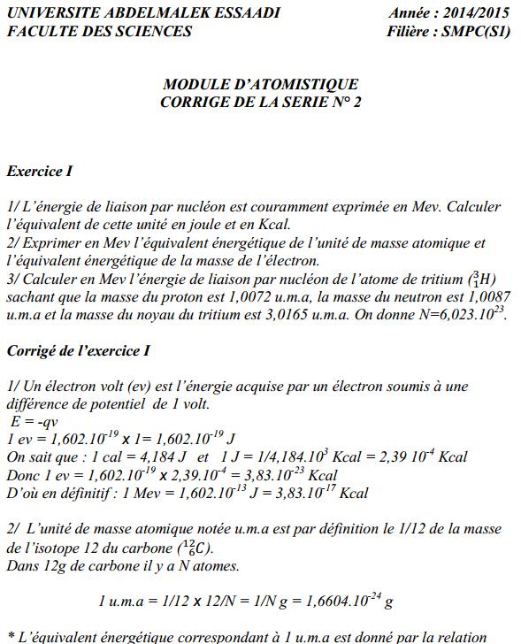 TD Atomistique: Série n° 2 + Corrigé SMPC S1 FST 14-15