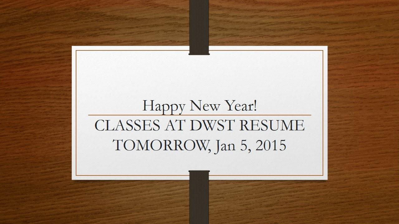 word seminary classes at dwst to resume tomorrow