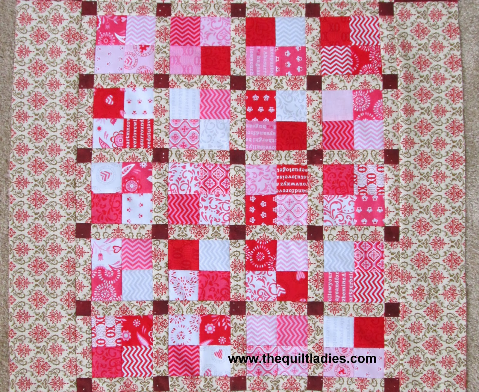 table topper made of four patch quilt blocks