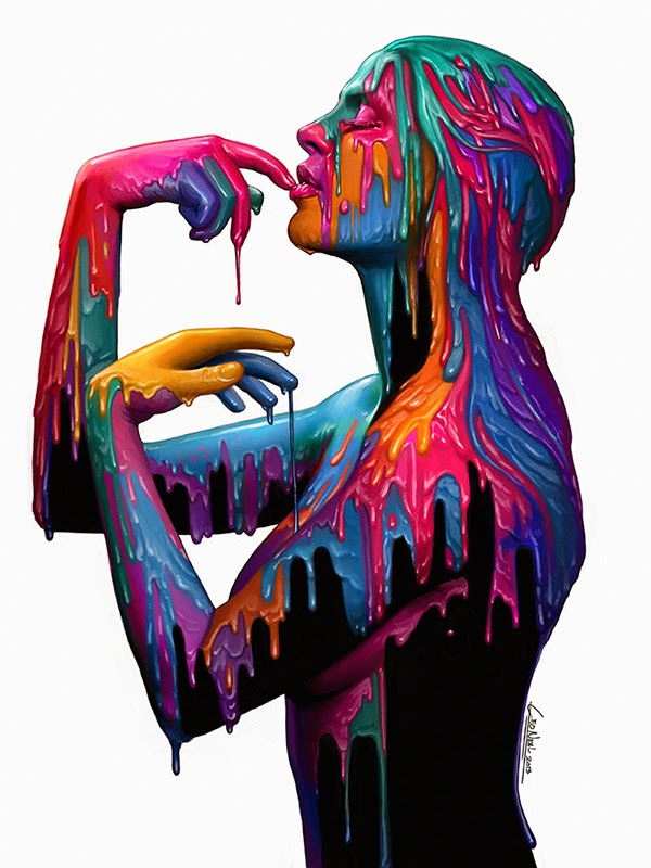 illustration de LaVata E. O'neal représentant une femme nue recouverte de peintures colorées