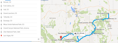 Road trip itinerary from Denver to Las Vegas