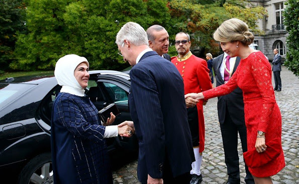 President Recep Tayyip Erdogan and his wife Emine Erdogan - King Philippe of Belgium and Queen Mathilde of Belgium
