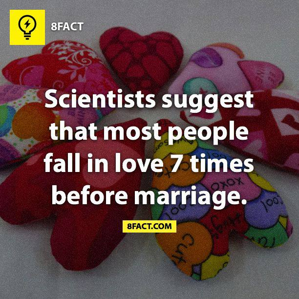 Scientists suggest that most people fall in love 7 times before marriage.